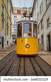 Lisbon, Portugal. 05 March 2020. View of Bica funicular in downtown Lisbon