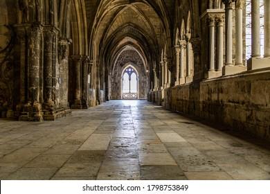 Lisbon, Portugal – 05/06/2016: Lisbon Cathedral, Gothic cloister, Alfama district, Lisbon, Portugal