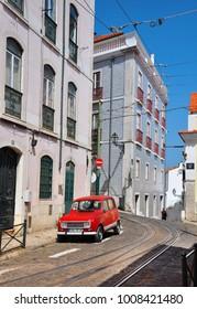 LISBON, PORTUGAL - 05.21.2017: city street urban view