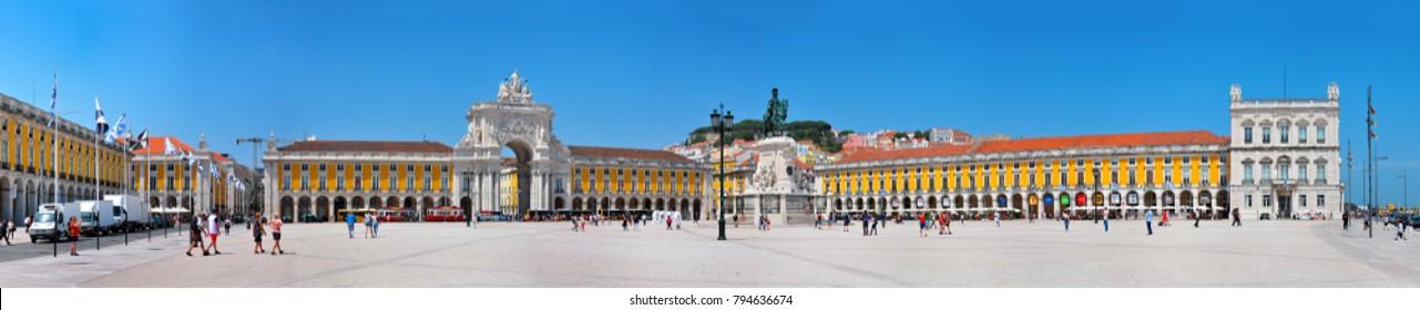 LISBON, PORTUGAL - 05.21.2017: Commerce Square landmark architecture panorama