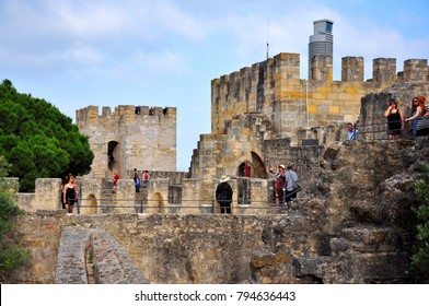 LISBON, PORTUGAL - 05.21.2017: Sao Jorge Castle landmark architecture