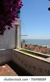 Lisbon, Portugal - 06.18.2017: the view of a church and sea.