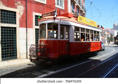 Lisbon, Portugal - 06.20.2017: a red tram on the street.