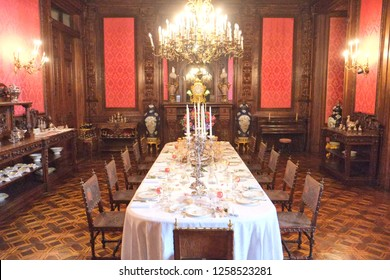 Lisbon, Portugal - 07.29.2016: The Palace of Ajuda is a neoclassical monument in the civil parish of Ajuda in the city of Lisbon, central Portugal. Queen's Dining Room
