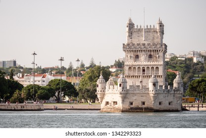 LISBON, PORTUGAL - 1 AUGUST 2018: A view of the popular Lisbon landmark The Belem Tower taken from a vantage point on the River Tagus