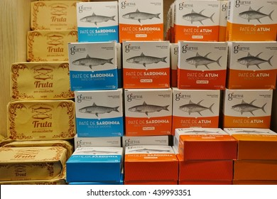 LISBON, PORTUGAL  10 JUNE 2016  Colorful Tins Of Canned Sardines Line The  Shelves