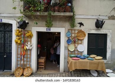 Lisbon, Portugal - 10 September 2019: Popular street market in Santa Clara near the National Pantheon
