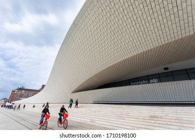 LISBON / Portugal - 11/10/2019: Part of the facade of MAAT, Museum of Art, Architecture and Technology, the museum of contemporary art in Lisbon, Portugal located on the quayside by the Tejo river.