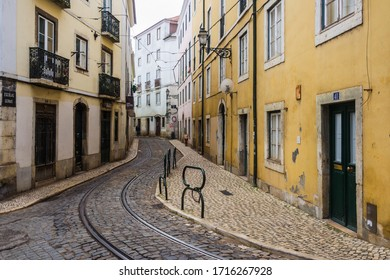 Lisbon, Portugal; 12 20 2019: Shooting the streets of the popular neighbourhood of Alfama (Lisbon)
