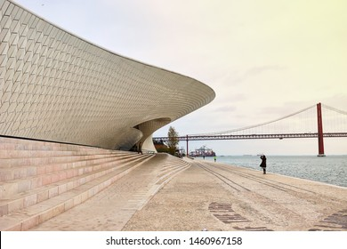Lisbon, Portugal - 12 of December, 2018: Maat entrance, Museum of Art, Architecture and Technology, Amanda Levete, outward looking with organic curvy shapes.
