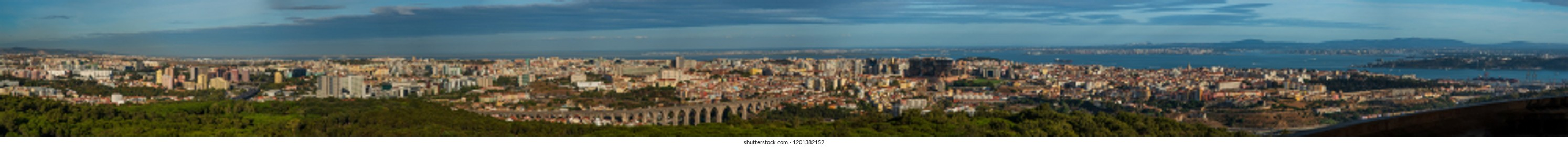 Lisbon Portugal. 12 October 2018. Extreme Panorama of Lisbon from Monsanto Viewpoint. Monsanto Viewpoint was a luxury restaurant until the 90s where was abandoned now it was recovered  as viewpoint