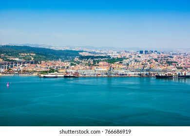 Lisbon, Portugal - 17 May 2016: Panoramic view of port and city, Lisbon, Portugal, 17 May 2016