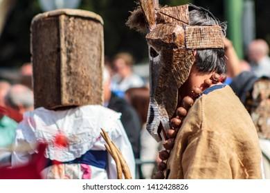 Lisbon, Portugal: 18 May 2019: Masked man at Iberian Mask International Festival in Lisbon