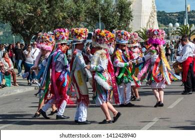Lisbon, Portugal: 18 May 2019: Carnival of Cobres caracters at Iberian Mask Festival Parade in Lisbon