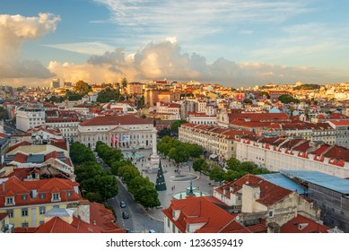 Lisbon Portugal. 19 November 2018. View of Figueira Plaza in Lisbon, from Saint Justa viewpoint