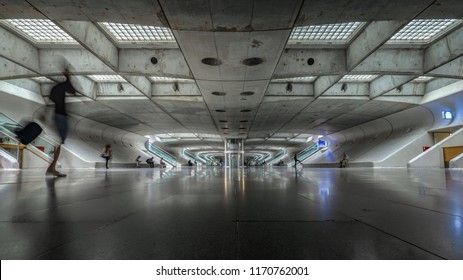 LISBON, PORTUGAL - 2 AUGUST 2018:  Lisbon Oriente Station. Symmetry and modern architecture designed for the 1998 Expo World's Fair by Spanish architect Santiago Calatrava.