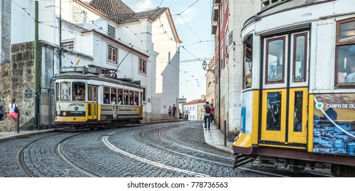 Lisbon, Portugal. 22 September 2017: Two tram going towards each other.