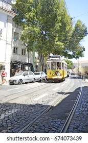 LISBON, PORTUGAL - 23rd of JUNE 2017: Colorful streets of Lisbon on a sunny summer day. June 23rd, 2017. Lisbon, Portugal.