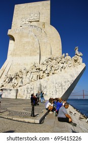 LISBON, PORTUGAL - 24 April 2016. The Monument to the Discoveries is located in Belem district. Honors Henry the Navigator and other important figures who took part in the Age of Discovery of Portugal