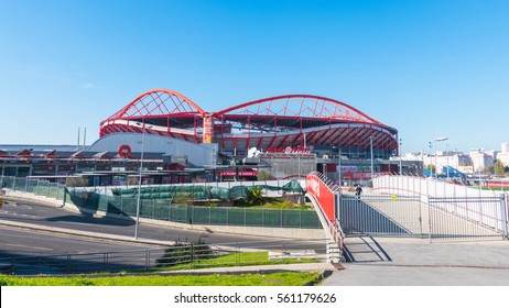 LISBON, PORTUGAL- 26 DEC 2016: Estadio da Luz is the hoem ground stadium of S.L.Benfica. It is a UEFA category four stadium and one of the biggest stadiums by capacity in Europe.