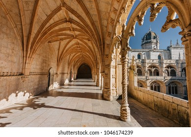 LISBON, PORTUGAL - 28.08.2015: Jeronimos monastery manueline style decoration architecture. Jeronimos monastery is medieval building and landmark of Lisbon, Portugal.