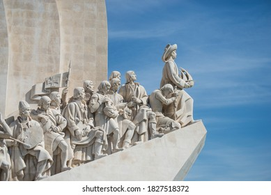 Lisbon - Portugal - 29 September 2020 - View of the monument to the discoveries on blue sky background
