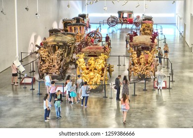 Lisbon, Portugal - 31.07.2016: The National Coach Museum, the museum has one of the finest collections of historical carriages in the world and is one of the most visited museums of the city