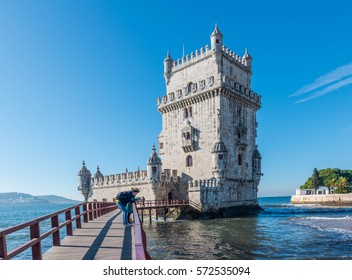 LISBON, PORTUGAL - 6 FEB 2017: The famous Tower of Belem in Lisbon, Portugal.