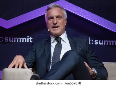 LISBON, PORTUGAL - 7 NOVEMBER 2017: Former French footballer David Ginola speaks at the Web Summit in Lisbon.
