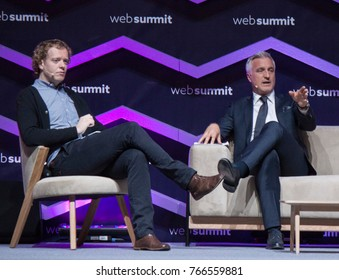 LISBON, PORTUGAL - 7 NOVEMBER 2017: Ken Early of Second Captains, interviews former French footballer David Ginola at the Web Summit in Lisbon.