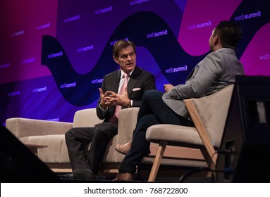 LISBON, PORTUGAL - 7 NOVEMBER 2017: Dr. Oz, renowned heart surgeon & television personality speaks with JP Mangalinden of Yahoo Finance at the Web Summit, Lisbon.