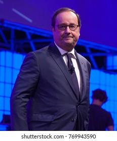 LISBON, PORTUGAL - 7 NOVEMBER 2017: Former President of France François Hollande addresses a capacity crowd at the Web Summit, Lisbon.