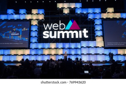 LISBON, PORTUGAL - 7 NOVEMBER 2017: Former President of France François Hollande addresses a capacity crowd and media at the Web Summit, Lisbon.
