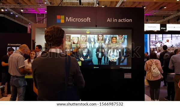 Lisbon, Portugal- 7 November, 2019: Microsoft celebrity match Software at Web Summit