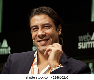 LISBON, PORTUGAL - 8 NOVEMBER 2016: Board Member of SL Benfica, Rui Costa, speaks to attendees at the Web Summit in Lisbon.