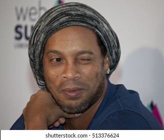 LISBON, PORTUGAL - 9 NOVEMBER 2016: Brazilian footballing legend Ronaldinho speaks to the media at the Web Summit in Lisbon.