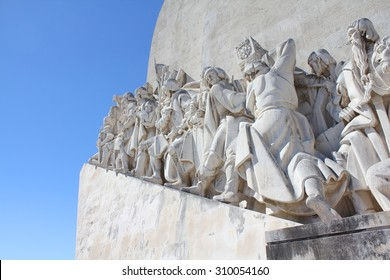 LISBON, PORTUGAL, 9 SEPTEMBER 2013: Padrao dos Descobrimentos - Monument to the Discoveries commemorates the Portuguese Age of Discovery in the 15th and 16th centuries. Eastern profile