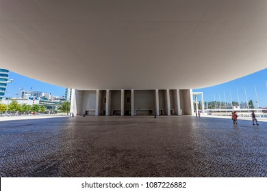 Lisbon, Portugal - April 02, 2013: Under the canopy of the Pavilhao de Portugal, aka Portuguese Pavilion in Parque das Nacoes. By the Pritzker Award winner architect, Alvaro de Siza Vieira.
