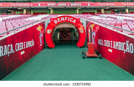 Lisbon, Portugal - April 2018: exit to FC Benfica arena from the players tunnel