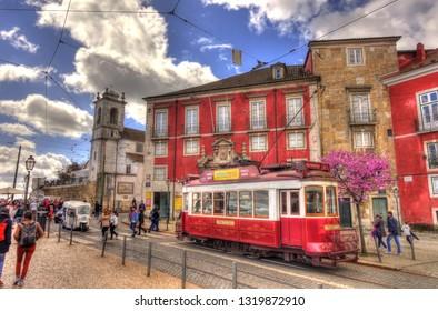LISBON, PORTUGAL - APRIL 2018 : Historical center in sunny weather, HDR image