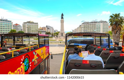 Lisbon, Portugal - April 2018: hop on hop off buses at the starting point of sightseeing tour around the city