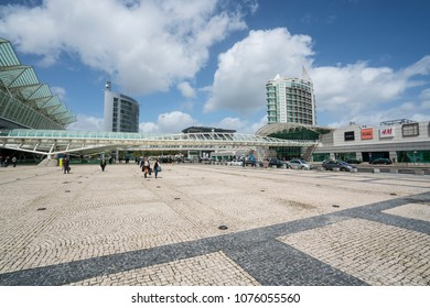 Lisbon, Portugal. April 2018. The Square in front of la Gare do Oriente station in Lisbon, Portugal