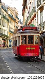 Lisbon, Portugal - April 2019: The famous Lisbon vintage tram in the city center