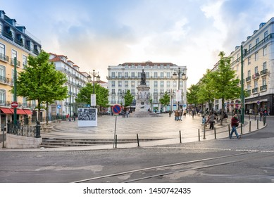 Lisbon, Portugal - april 22, 2014: Luiz de Camoes Square located by the Chiado and Bairro Alto Districts in Lisbon
