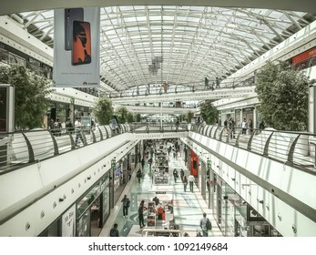 Lisbon, Portugal - April 23, 2018: 'Centro Vasco da Gama' mall on a weekday seen from the second floor.