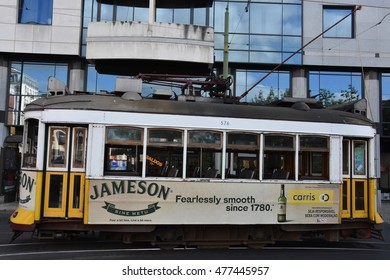 LISBON, PORTUGAL - AUG 19: The historic Tram 28 in Lisbon, Portugal, as seen on Aug 19, 2016. The first tramway in Lisbon entered service on 17 November 1873, as a horsecar line.