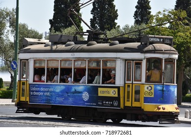 LISBON, PORTUGAL - AUG 21: Historic Tram in Lisbon, Portugal, as seen on August 21, 2016. In operation since 1873, it presently comprises five urban lines.