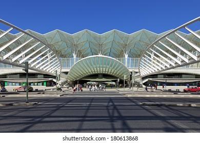Lisbon, Portugal - August 02, 2013: Gare do Oriente (Orient Station), a public transport hub designed by the famous architect Santiago Calatrava.