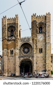 LISBON, PORTUGAL – AUGUST 02, 2018: Lisbon Cathedral (Se de Lisboa), the oldest church in the city built in the Romanesque style in the 12th century. The church survived the great earthquake of 1755.