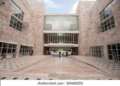 Lisbon, Portugal -  August 03, 2014: Architecture details of the Belem Cultural Center (CCB)